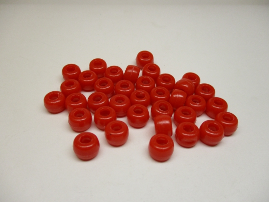 PONY BEADS 6X9MM 250G RED