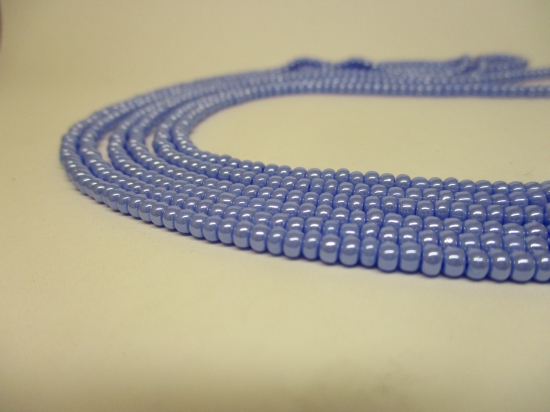 Czech Seed Beads 8/0 Pearl Lt Blue 3str x +/-20cm
