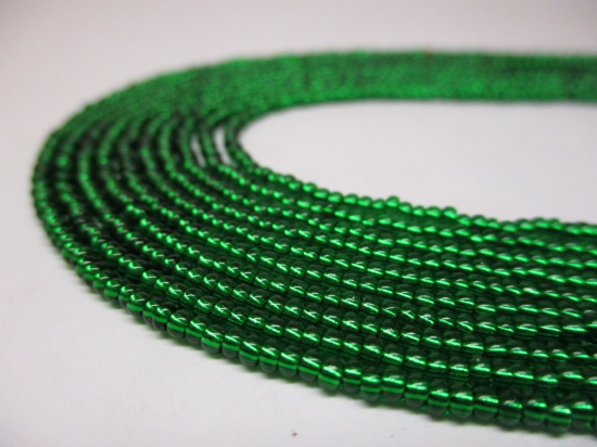 Czech Seed Beads 11/0 Foil Green 5str x +/-20cm