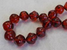 Czech Glass Bead 14mm Red +/- 30Pcs