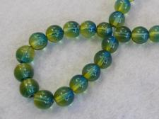 Czech Glass Bead 8mm Green/Yellow+/-75Pcs