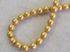 Czech Glass Bead Pearl 8mm Gold +/- 70pcs