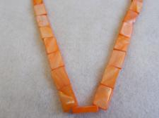 Czech Shell Beads Rectangle 3x10x15mm +/-26pcs  Orange