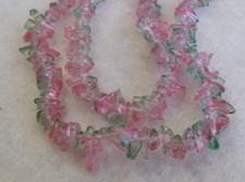Chip Czech Glass Beads 80cm str Pink/Green