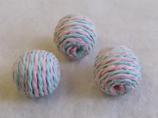 Twine Bead 20x20mm Turq/Pink 10pcs
