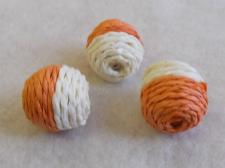 Twine Bead 20x20mm Orange/White 10pcs
