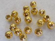 Hollow Metal Bead 6mm/Brass +/-180pcs