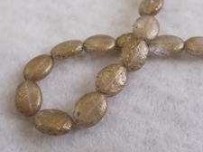 Splatter Glass Bead Oval 9x11mm Old Gold +/-35pcs