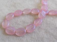 Splatter Glass Bead Oval 9x11mm Pink +/-35pcs
