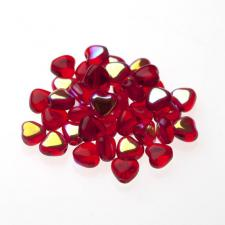Czech Fire Polish Beads 100P 6mm Heart - 90080 - 28701