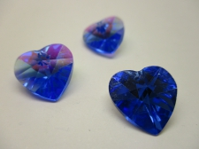 CRYSTAL HEART PENDANT 14X14MM 3PCS BLUE AB