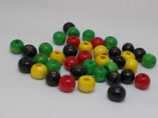 Wood Beads 8mm Red/Black/Yellow/Green 100g