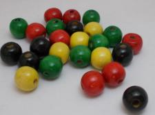 Wood Beads 14mm Red/Black/Yellow/Green 100g
