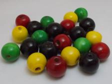Wood Beads 16mm Red/Black/Yellow/Green 100g