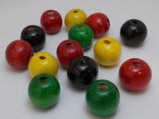 Wood Beads 19mm Red/Black/Yellow/Green 100g