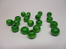 WOOD BEADS 14MM GREEN 125G