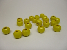 WOOD BEADS 14MM YELLOW 125G