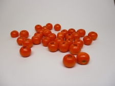 WOOD BEADS 10MM ORANGE 125G
