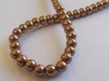 GLASS PEARLS 6MM DR BROWN