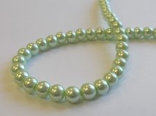 GLASS PEARLS 6MM LT GREEN