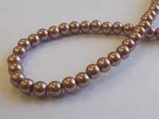 GLASS PEARLS 6MM BROWN