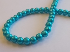 GLASS PEARLS 6MM TURQ