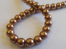 GLASS PEARLS 8MM BROWN
