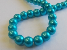 GLASS PEARLS 8MM TURQ
