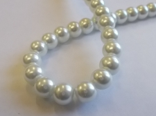 GLASS PEARLS 8MM WHITE