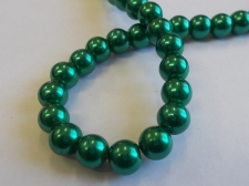 GLASS PEARLS 8MM DR GREEN