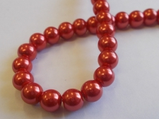 GLASS PEARLS 8MM RED