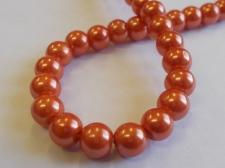 GLASS PEARLS 8MM ORANGE