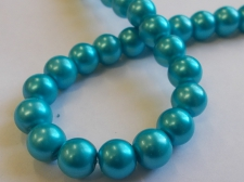 GLASS PEARLS 10MM TURQ