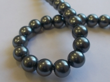 GLASS PEARLS 10MM DR GREY