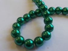 GLASS PEARLS 10MM DR GREEN