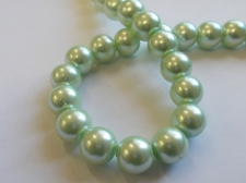 GLASS PEARLS 10MM LT GREEN