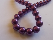 GLASS PEARLS 10MM DR PURPLE