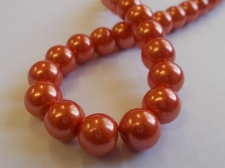 GLASS PEARLS 10MM ORANGE
