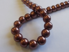 GLASS PEARLS 10MM BROWN