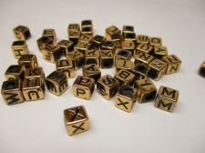 ALPHABET PLASTIC BEADS 6X6MM 250G