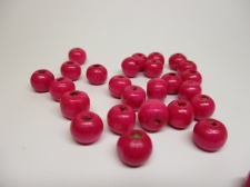 WOOD BEADS 10MM DK PINK 125G