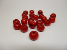 WOOD BEADS 14MM RED 125G