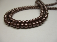 GLASS PEARLS 4MM BROWN