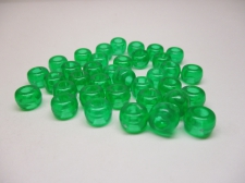 PONY BEADS 6X9MM 250G TRANS GREEN
