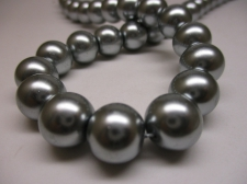 GLASS PEARLS 12MM GREY