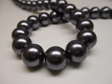GLASS PEARLS 12MM DK GREY