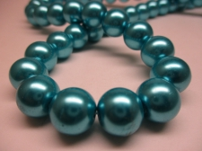 GLASS PEARLS 12MM TURQ