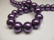 GLASS PEARLS 12MM DK PURPLE