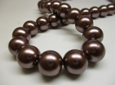 GLASS PEARLS 12MM BROWN