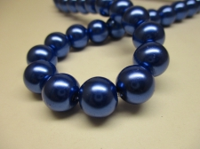 GLASS PEARLS 12MM ROYAL BLUE
